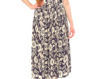 Abstract flowers, navy vintage skirt, Japan, xs - small