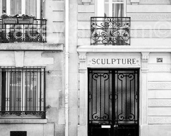Door Photo, Black & White Paris Photography, Modern, Rustic, Paris Door, Neutral Wall Art, Paris Wall Decor