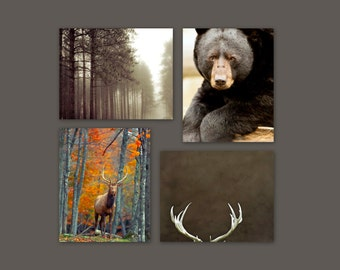 SALE, Rustic Wall Art - Nature Photography, 4 Photo Set, Deer Antlers, Bear, Fall Forest, Green, Brown, Cabin Decor