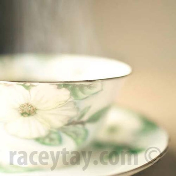 Tea Print, Kitchen Wall Art, Mint, Gold, Teacup Photograph, Shabby Chic, Food Photography, Art for Kitchen Print