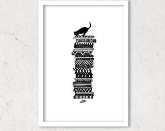 "Black Cat On Cushions/ Whimsical Art Print 6""x8"""