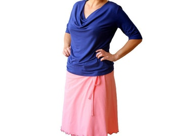 Blue top, Cowl neck top, Short sleeve top, Plus size top, XL, XXL cowl top, Plus size blue top, Basic top, Cowl neck shirt, Made to order
