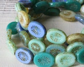 Czech Glass Beads - Flat Oval  Picasso Beads - Jewelry Making Supplies - 14x11mm (15 beads) Mixed Blues And Greens
