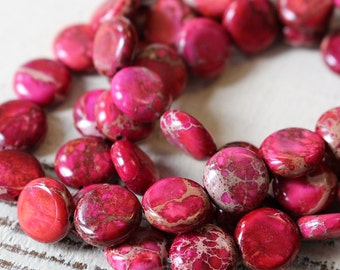 10mm Coin Beads - Impression Jasper - Aqua Terra Jasper Beads - Jewelry Making Supply - Magenta Pink - Choose Amount