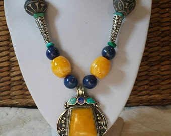 Colorful tribal ethnic big bold handmade necklace
