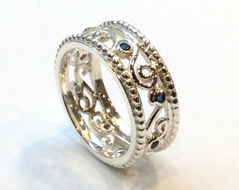 Blue sapphires Ring, sterling silver ring, blue stones band, wide band, multi stones ring, delicate ring, ornate ring - Fly in circles R2335