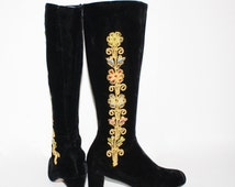Vintage EMBROIDERED BOOTS Black Velvet Go Go 7