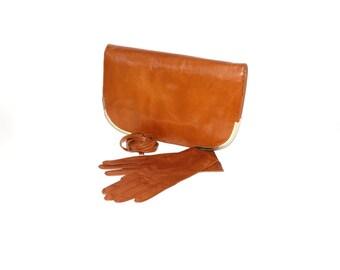 BOTTEGA VENETA Vintage Brown Leather Gloves Clutch Ensemble Covertible Bag - AUTHENTIC -