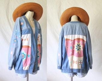 oversized denim southwest jacket