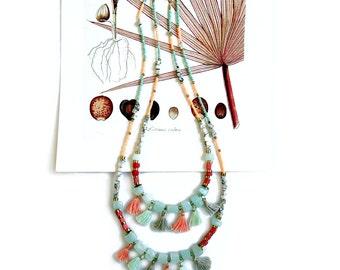 Quartz Tassel Necklace, Beaded Bohemian Necklace, Mint Peach Necklace, Boho Quartz Necklace