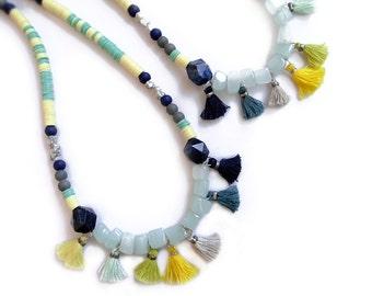 Beaded Boho Tassel Necklace, Mint Yellow Statement Necklace, Gemstone Tassel Necklace