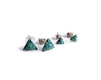 Turquoise Stud Earrings,Tiny Triangle Stud Earrings, Every Earrings, Stocking Stuffer