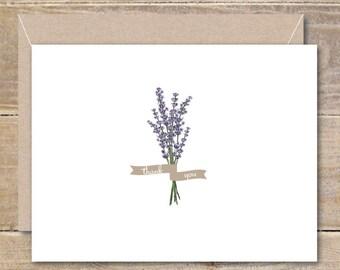 Thank You Cards, Thank You Card Set, Thank You Notes, Lavendar, Flowers, Floral, Recycled, Rustic, Wedding, Bridal Shower, Lavendar Garden