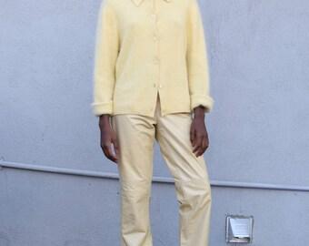 Vintage Fuzzy Angora 1990's Pastel Yellow Ultra Soft Wool Long Sleeve Cardigan Sweater S/M
