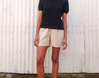 Vintage Minimalist 1990's Black Light Lambs Wool Knit Crew Neck Sweater Short Sleeve Top S/M