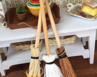 Miniature Mops and Brooms, Packaged Set of 3 Pieces by Timeless Minis, Dollhouse Miniature, Dollhouse Accessory, Decor