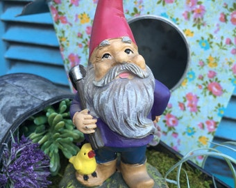 Miniature Garden Gnome with Red Hat, Garden Tool and Duck