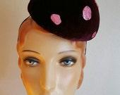 Burgundy Maroon Toadstool Mushroom Pillbox Hat burlesque circus costume