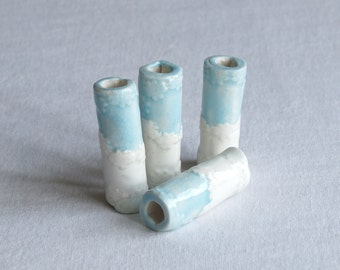 Four large macrame beads 8mm 9mm hole white and celadon blue glaze ceramic porcelain embroidered daisy texture