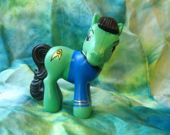 CUSTOM SPOCK PONY Lookalike  3 Inches Tall cm Customized mlp Figure, Small Mini Vulcan Science Officer from Star Trek, Cute st:tos Ponies g3