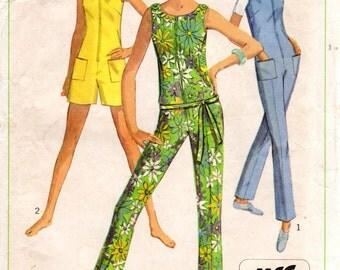 1960s Slim Jumpsuit or Romper - Vintage Pattern Simplicity 7133 - Bust 36
