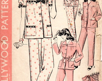 1940s Womens Pajamas Pattern - Vintage Hollywood 1006 - Bust 36
