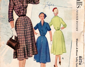 1950s Tailored Shirtdress Shirtwaist Pattern - Vintage McCall's 8828 - B30