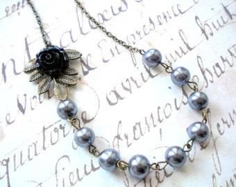 Leaf Necklace Black Rose Necklace Grey Wedding Jewelry Grey Pearl Necklace Flower Necklace Grey Bridesmaid Necklace Woodland Leaf Jewelry