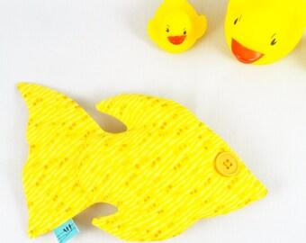 Goldfish Toy - Stuffed Fish - Soft Sculpture Animal - Baby Nursery and Kid's Room Decor - Plush Yellow Fish - Baby Shower Gift - URSULA