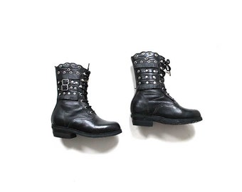 FLASH SALE SALE Vintage Combat Boots 5 / Black Leather Boots / Ankle Boots Women / Studded Ankle Boots / Platform Anke Boots