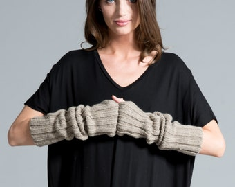 Black Gloves / Knit Fingerless Gloves / Knit Arm Warmers / Women's Gloves / Grey Fingerless Gloves / marcellamoda k - MA419