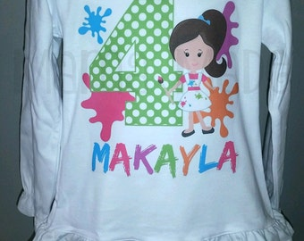 Paint Party Birthday Shirt or Bodysuit Painting Party Splatter Paint Birthday shirt,girls birthday shirt,artist birthday shirt,paint party