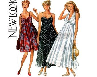 90s Halter or Bustier Style Tent Dress Pattern New Look 6695 Sizes 6 - 16 UNCUT Factory Folded OOP Pattern