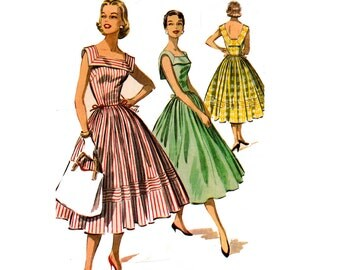 1950s Square Neck Rockabilly Dress Pattern McCall's 3657 Vintage Sewing Pattern Size 14 Bust 34 inches UNCUT Factory Folds