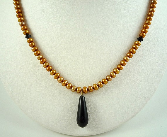 Pearl Necklace Gold Freshwater Pearl Necklace Pearl Black Obsidian Necklace Gold Black Necklace Black Obsidian Pendant Necklace Pearl Strand