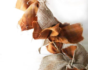 Autumn Garland Rag Banner Display.  Fall Colored Rustic Rag Tattered Banner. Pumpkin Plaid Burlap Bows. Mantel. Windows.