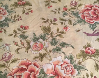 Vtg Twin Flat Bed Sheet - Pink and Green Asian Floral Design - Springmaid