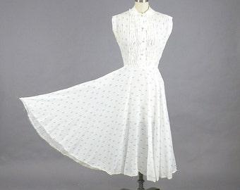 1940s Dress, 40s Dress, Rain Drop Novelty Print Dress, 40s Day Dress, 1940s Summer Dress, Blue & White 40s Cotton Dress