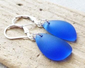 Sea Glass Earrings, Blue Seaglass Earrings, Sea Glass Jewelry, Light Sapphire Blue Sea Glass Dangle Earrings, Ocean, Beach Jewelry, Gift