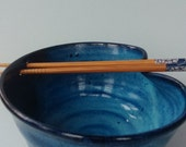 Handmade stoneware pottery bright blue rice or noodle bowl