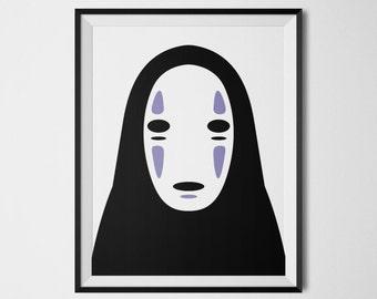 No Face Spirited Away Poster Kaonashi Print Faceless Mask Spirited Away Art Chihiro Wall Print Japanese Anime No Face Mask Printable Art
