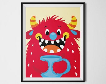 Monster Wall Art, Monster Inspiration, Whimsical Prints, Red Decor, Quirky Art, Cool Posters, Playroom Decor, Colorful Wall Art, Printable