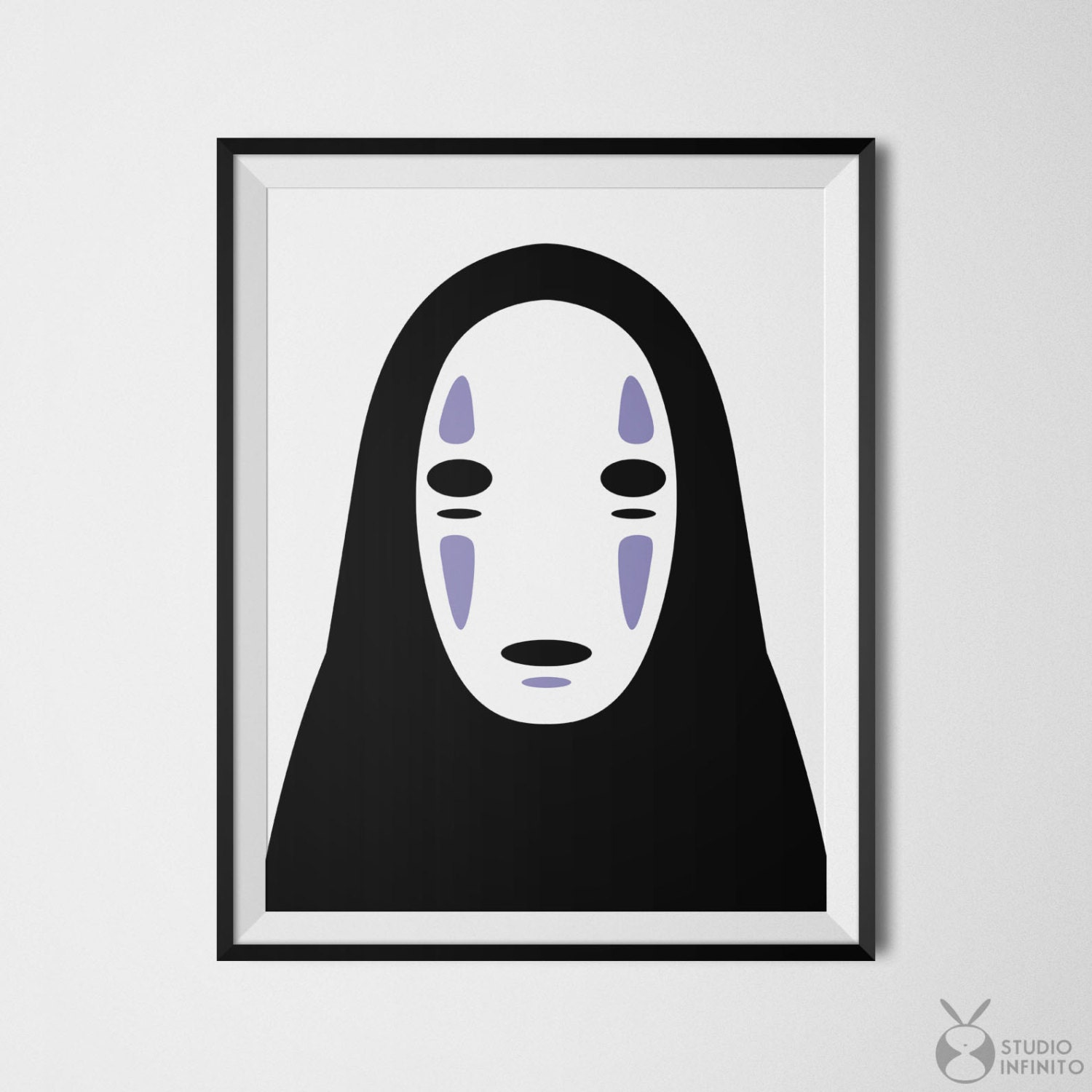 no face spirited away poster kaonashi print faceless mask
