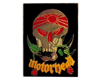 MOTORHEAD vintage enamel pin badge lapel Lemmy punk heavy metal thrash Japan 1983 kamikaze biker