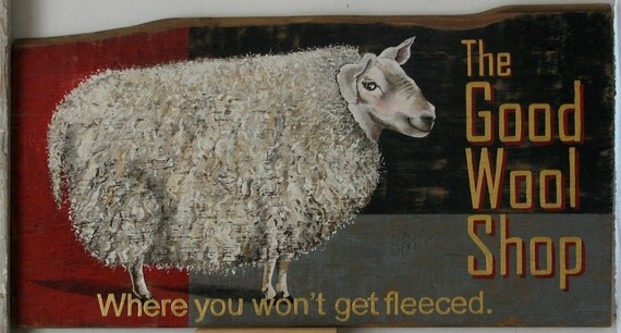 The Good Wool Shop original acrylic painting on repuropsed wood