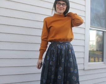 Print Skirt Starry Night Vintage 50s Full Casual Dark M 27 Waist