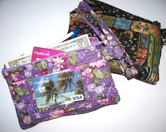 Quilted Purple Flowers or Black Paisley Patterned Wristlet,Your Choice of Zippered Clutch,Phone Pocket, ID Section,Dollar Bill Section