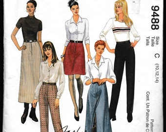 McCall's 9488 Fashion Basics Misses Skirt in Two Lengths and Pants,