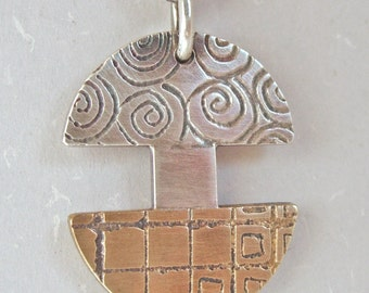 Silver Brass Split Circle Inlay Pendant