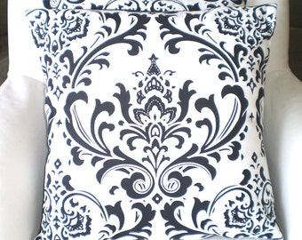Black White Damask Pillow Cover, Decorative Throw Pillows, Cushions, Black and White Damask Euro Sham, Couch Bed Sofa, One or More ALL SIZES